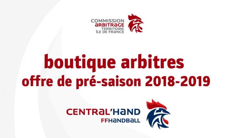Boutique arbitres – offre pré-saison 2018-2019