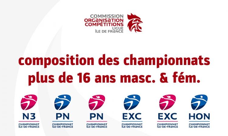 Composition des championnats plus de 16 ans