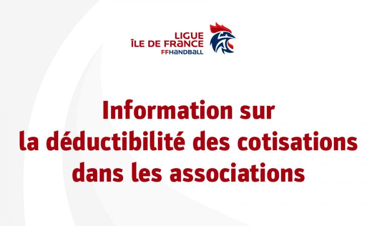 Information sur la déductibilité des cotisations dans les associations
