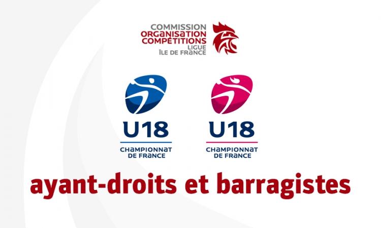 Championnat de France moins de 18 ans 2018-2019 – ayant-droits et barragistes